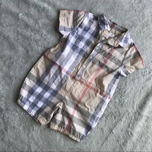 f33cb240c97 Burberry One Pieces - Burberry Kirk Infant Short Sleeve Check Playsuit